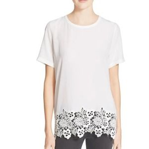 Equipment Riley Crochet Lace Silk Tee top